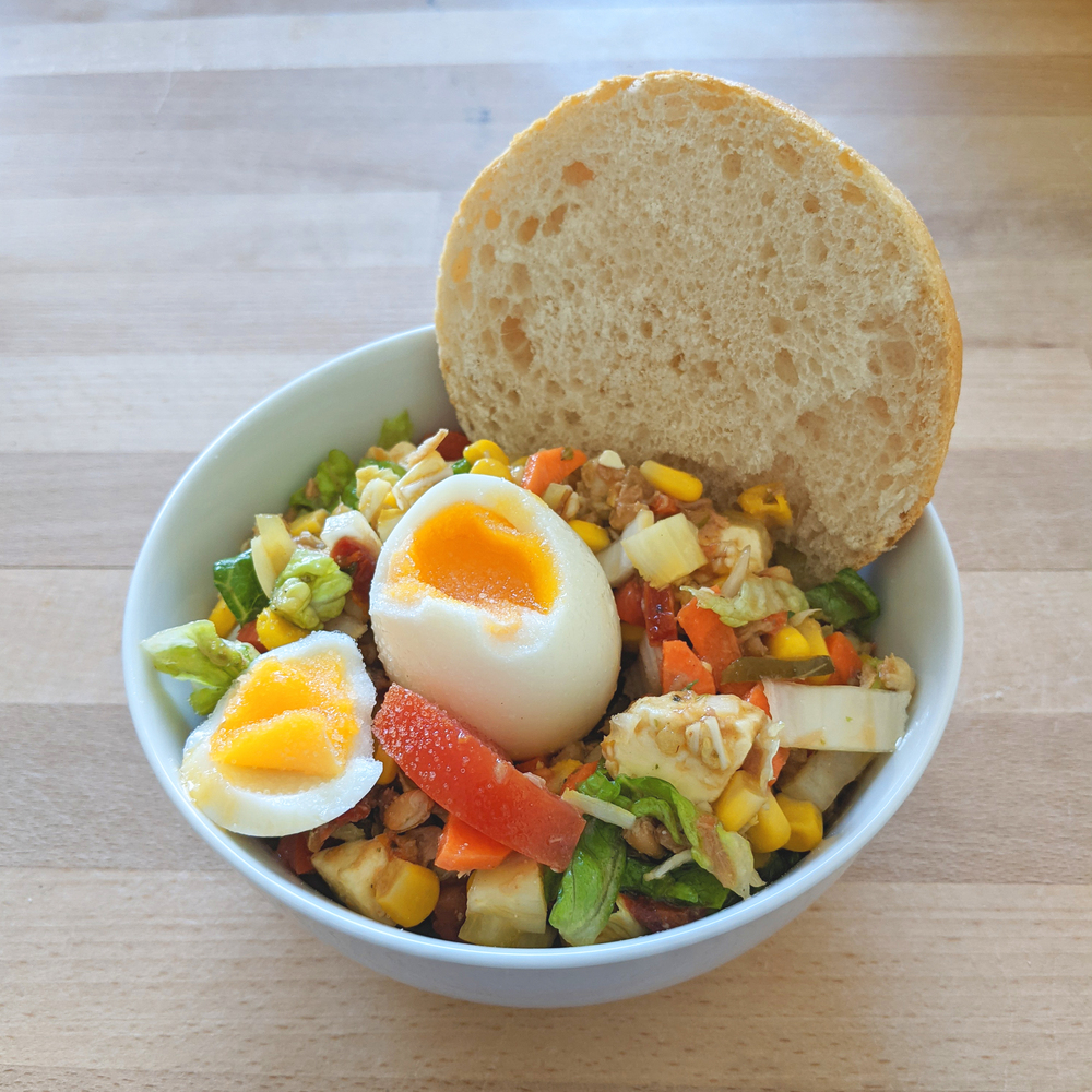 Colorful salad with egg